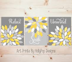 zoom on wall art prints for bathroom with yellow gray wall art set of 3 bathroom prints bathroom wall