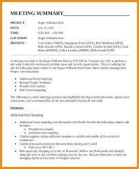 Meeting Summary Sample Meeting Minutes Sample Format Secretary Outline Example