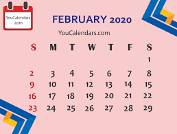 February 2020 Calendar Template Printable