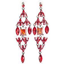 ritzy crystal chandelier earrings red