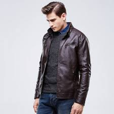 leather jacket windproof motorcycle slimfit retro top quality coat for men thumbnail