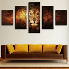 piece lion modern home wall decor canvas picture art hd print wall painting set of 5