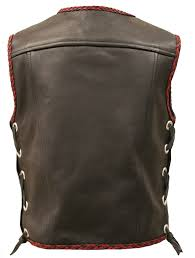 the elite motorcycle leather vest black red braiding