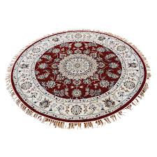 4 x4 wool and silk 300 kpsi hand knotted red nain round oriental
