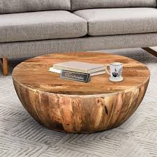 wood coffee table in round shape indian