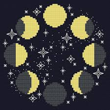 Phase Color Chart Moon Phases Cross Stitch Pattern Pattern Includes Color