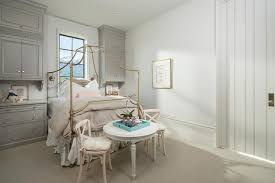 Gray and Pink Girls Bedroom with Gold Canopy Bed - Transitional ...