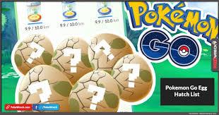 Pokemon Go Egg Chart 2018