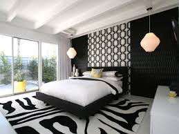 modern bedroom black. Black And White Modern Bedroom Here Is A That Opens To The Great Outdoors. Accented With Retro Lighting O
