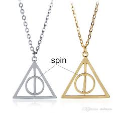 whole harry rotate ly hallows necklace silver gold spin triangle pendant necklaces potter fashion jewelry will and sandy drop name pendant