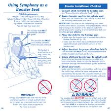 using symphony as a booster seat warning important booster installation checklist evenflo