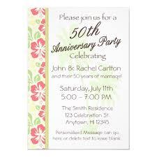 50th Anniversary Party Invitations Hawaiian Luau 50th Anniversary Party Invitations