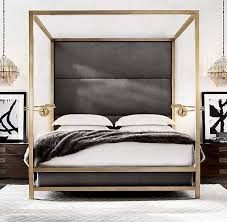 brass and metal furniture. rh modernu0027s montrose high panel fourposter bedinspired by the streamlined glamour of late century our fourposter bed pairs a sleek brassfinish brass and metal furniture i