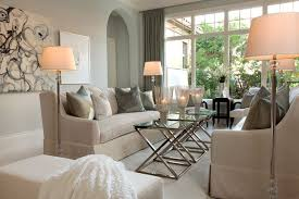 Remarkable Living Room Design with Floor Lamp Shades add with Grey Sofas  also Glass Table near Bay Windows on Floor Photos Gallery