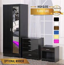 furniture sets bedroom. high gloss 3 piece bedroom furniture set - wardrobe chest bedside *free delivery sets