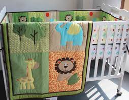 Embroidery 3D lion elephant deer tree Baby boy bedding set 6Pcs ... & Embroidery 3D lion elephant deer tree Baby boy bedding set 6Pcs Crib  bedding set Baby Quilt Bumper Fitted Sheet Cot bedding set-in Bedding Sets  from Mother ... Adamdwight.com