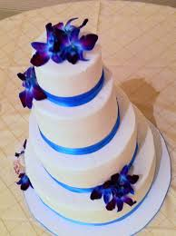 Topaz Blue Purple Orchid And White Wedding Cake Wedding Cakes