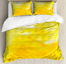 yellow and white duvet cover set painting style brushstroke twist abstract artistic monochrome wave decorative bedding set with pillow shams