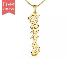 personalized gold plated vertical name necklace