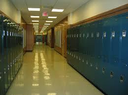 hallway at school. school lockers hallway high education at