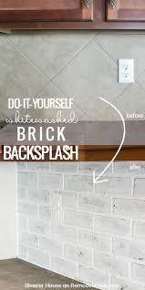 Diy Backsplash Remodelaholic Diy Whitewashed Faux Brick Backsplash