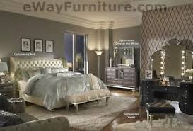 Image Is Loading Creamy Pearl White Leather Crystal King Bed Bedroom