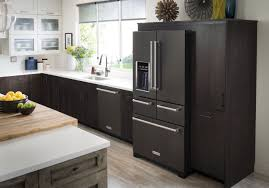 kitchenaid black stainless. the line-up of smudge-resistant black stainless steel major appliances includes refrigerators, dishwashers, single and double wall ovens, range hoods. kitchenaid