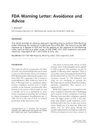 pdf fda warning letter avoidance and advice