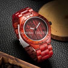 eco friendly red sandal wood health watches uwood brand wooden watch japan quartz wrisch for mens women lover best gift