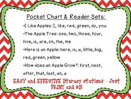 Apple Tree Pocket Chart Apple Fun Pocket Charts Center And Sight Word Readers