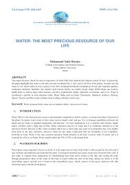 water the most precious resource of our life pdf available