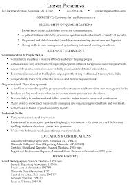 Example Resume Customer Service Representative