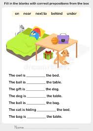 Fill In The Blanks With Correct Prepositions Stock Vector ...