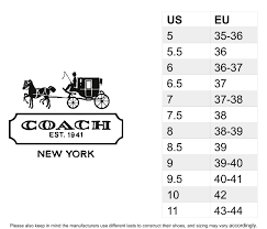 Coach Sneakers Size Chart Coach Women S Shoes Size Chart Best Picture Of Chart