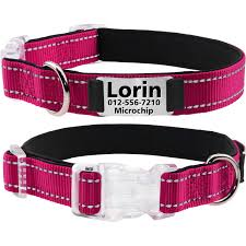 Small Dog Collar Size Chart Joytale Personalized Dog Collar With Engraved Slide On Id Tags Custom Reflective Collars For Small Medium Large Dogs Hotpink Black Purple Red Sky