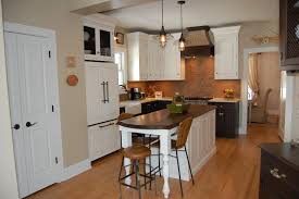 White Kitchen Island Table With Brown Wooden Counter Top For Small Kitchens  ...