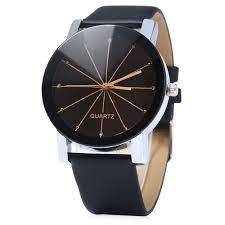 men quartz watch line dial leather band black in men s watches men quartz watch line dial leather band black