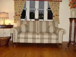 Laura Ashley Kingston Sofa Newly Upholstered Cedar Stripe Truffle + 2  Cushions   #312544574