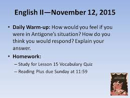english ii daily warm up how would you feel if  1 english