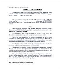 Accounting Service Level Agreement Template Service Level