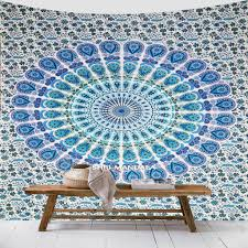 sky blue and light green twin size mandala tapestry wall hanging throw