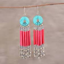 recycled paper and glass waterfall earrings descending red red disc and recycled