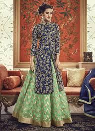 Banarasi Kurti Ke Design Epitome Navy Blue Banarasi Silk Jacket Style Lehenga Suit