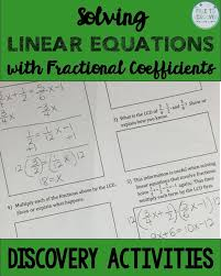 solving linear equations discovery worksheet reflection activity fractions