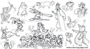 Adult Disney Sketches Various Characters 2 Coloring Pages Printable