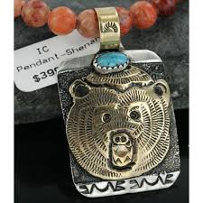 600 retail tag 925 sterling silver and 12kt gold filled handmade bear authentic navajo turquoise