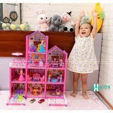 Đồ Chơi Lắp Ráp Ngôi Nhà Búp Bê - Biệt Thự Barbie nhiều tầng Kích thước Lớn  Dễ Thương cho bé gái - Nhà búp bê & Phụ kiện