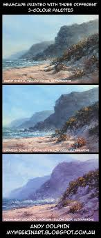 three oil paintings comparing diffe 3 colour palettes andy dolphin