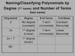 Classifying Polynomials By Degree And Number Of Terms Chart Classifying Polynomials Ppt Video Online Download