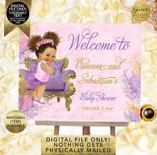 Purple Pink And Gold Welcome Signs Baby Shower Afro Bun Puffs